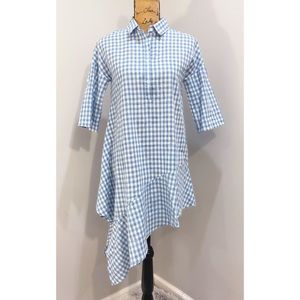 Listicle Blue Gingham Top with Assymetrical Hem